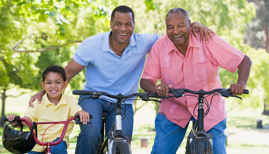 Multigenerational family biking