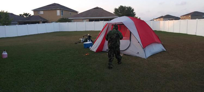 Begazo's brother, Renzo, a retired Army major, camped out in the yard to help take care of the kids while their parents were hospitalized