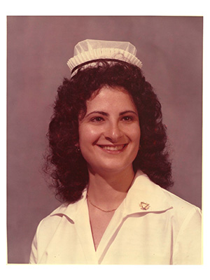 Old photo showing nurse Louisa Rattini-Reich at her 1976 graduation.