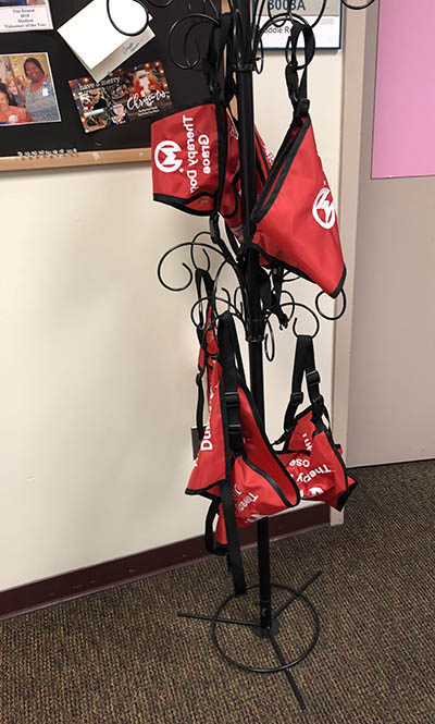 Pet therapy harnesses hang in the Volunteer Services office at Moffitt.