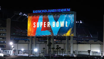 Super Bowl sign outside of Raymond James Stadium