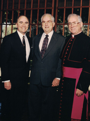 From left, H. Lee Moffitt, Ted Couch, Monsignor Laurence Higgins.