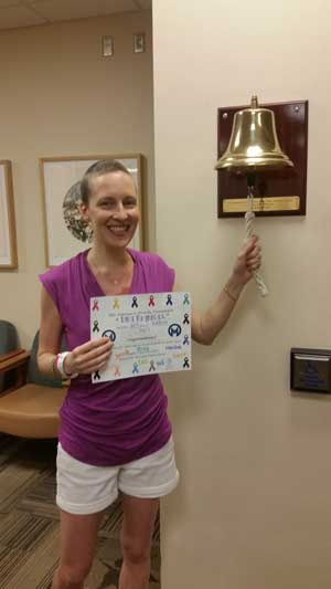 Tara ringing the bell on last day of radiation